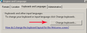 chagne keyboard button in windows 7