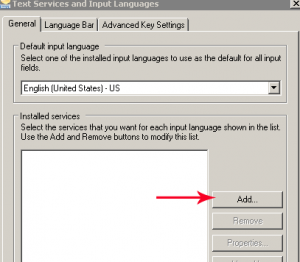 text services and input languages add button in windows 7